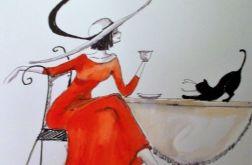 """Praca """"Dama z kotem"""" artystki A. Laube"""