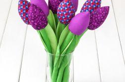 TULIPANY, ciemno fioletowy bawełniany bukiet