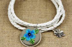 Bransoletka zimowa haft krzyżykowy rzemień