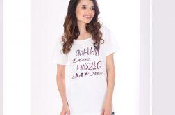 Chciałam Koszulka Oversize Biała Krótka