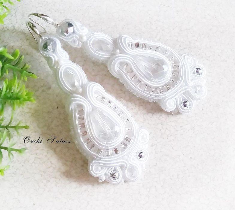 Kolczyki ślubne sutasz-kryształ faset-sre #29