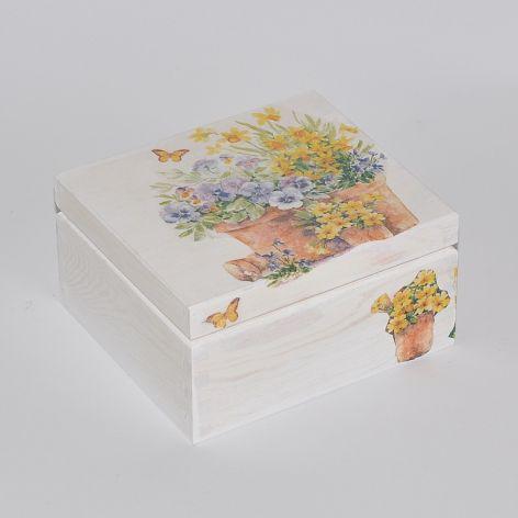 Biała szkatułka Bratki DECOUPAGE