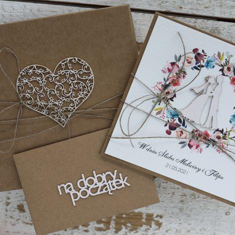 Oryginalna kartka na ślub z pudełkiem 12