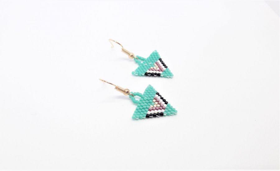 Kolczyki w stylu Art Deco trójkątne turkusowe
