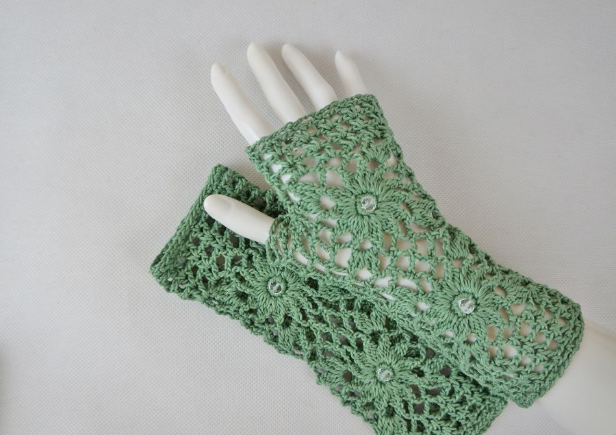 Rękawiczki, mitenki handmade zielone