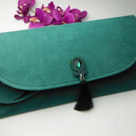 Torebka kopertówka soutache zielona chwost