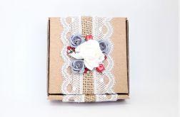 Pudełko ozdobne eko z różami i koronką