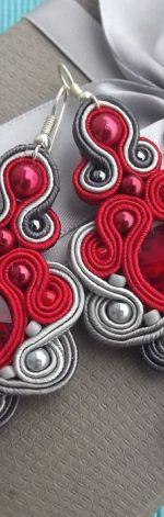 Czerwień& Odcienie Szarości kolczyki sutasz