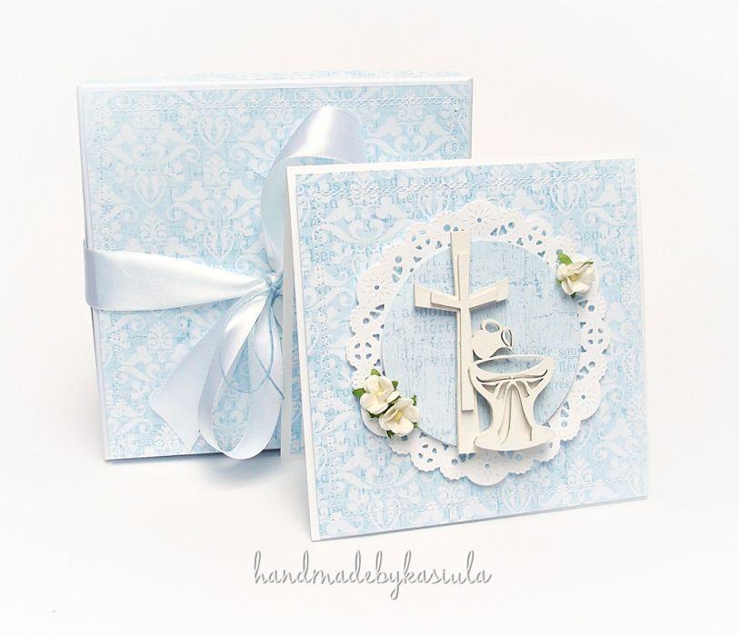 Pamiątkowa kartka  w pudełku z okazji Chrztu Świętego