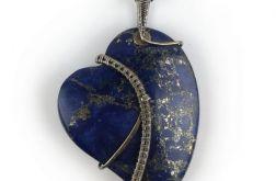 Duży srebrny wisiorek z lapis lazuli. Srebro