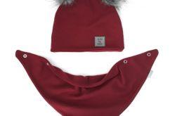 """Komplet zimowy: czapka z apaszka """"Bordo"""""""