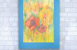 Rysunek kwiaty na niebieskim tle nr 11 szkic