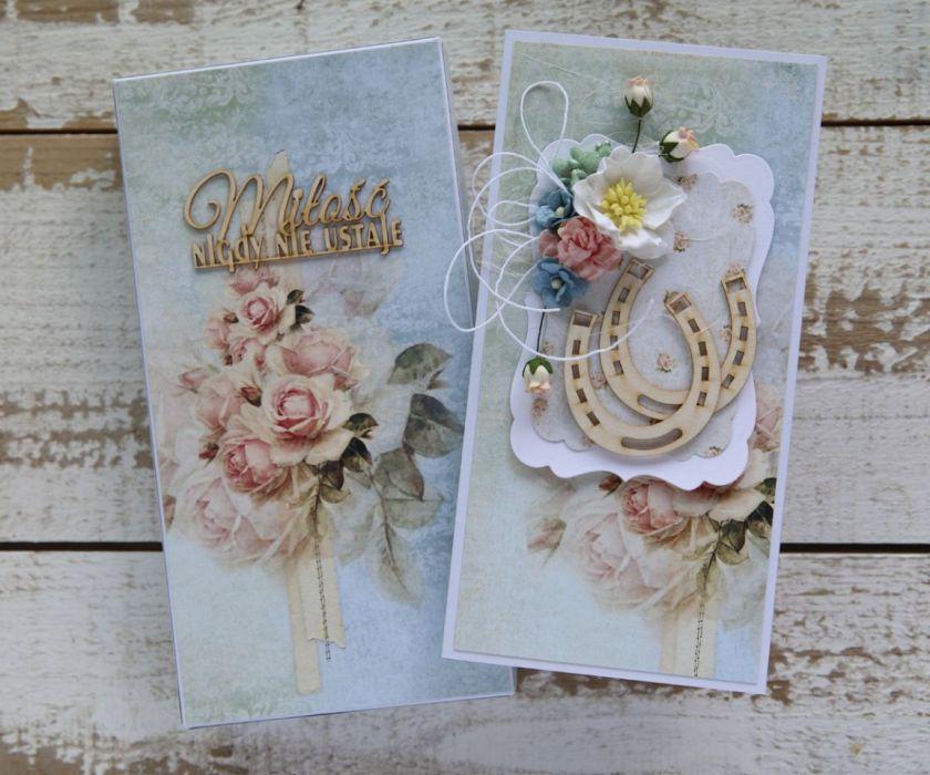 Kartka na ślub z pudełkiem - zestaw 3