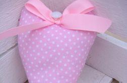 Serce bawełniane w różowe kropeczki