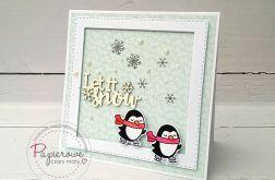 Świąteczna kartka z pingwinami