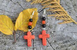 Kolczyki wiszące z krzyżem Howlit kamień