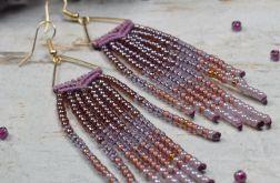 Długie kolczyki boho - odcienie fioletu