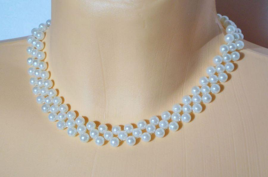 kolia biała perłowa - kolia z pereł
