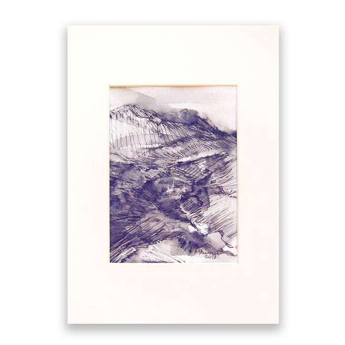 Szkic górski nr 8 -  czarno-biały rysunek
