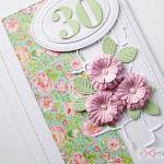 Kartka URODZINOWA różowo-seledynowa - Różowo-seledynowa kartka na urodziny