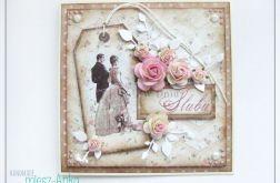 Delikatna kartka na Ślub z parą i różami