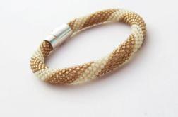 Bransoletka wąż ecru-złoty brąz