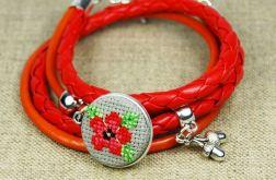 Bransoletka czerwony kwiat haft