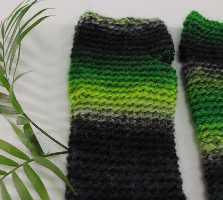 mitenki zielono-czarne