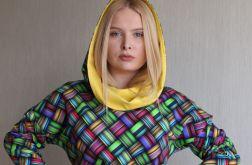 Bluza damska z kapturem KOLOROWA PLECIONKA