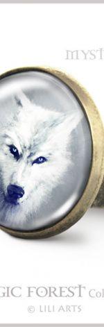 Pierścionek - Biały wilk - antyczny brąz
