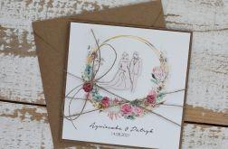 Kartka ślubna z kopertą - życzenia i personalizacja 1h