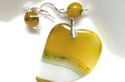 Żółto białe serce, delikatny zestaw biżuterii
