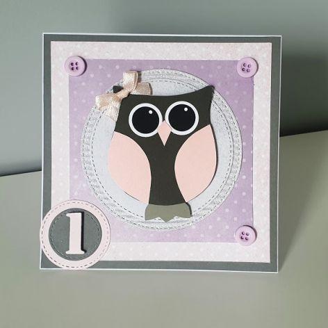 Kartka na Roczek z sowa