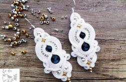 Kolczyki ślubne sutasz kryształki swarovskiego soutache ślub od jemioluszka