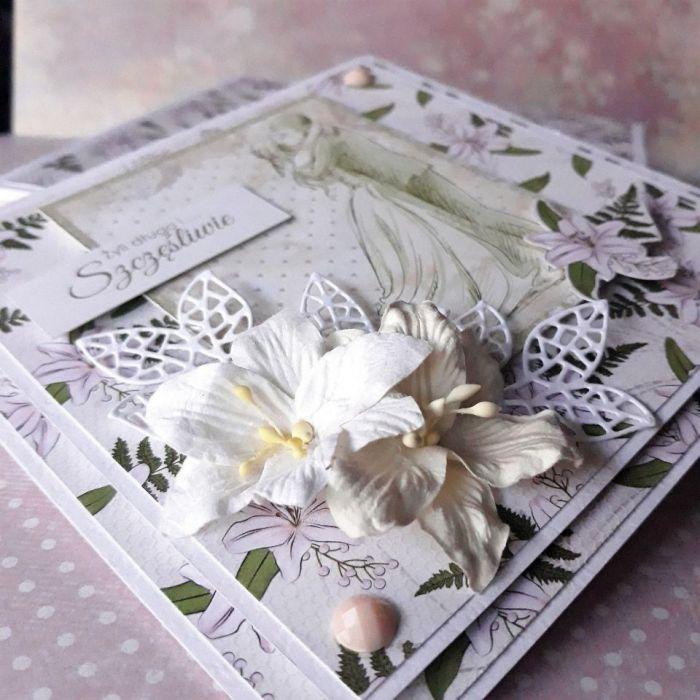 Ręcznie wykonana kartka ślubna w pudełku