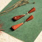 Kolczyki z czerwonego drzewa sandałowego - drewniana biżuteria