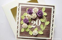 Kartka ROCZNICA ŚLUBU z fioletowymi różami
