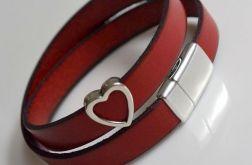 Bransoletka skóra czerwona + serce