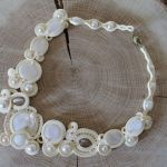 Naszyjnik sutasz kremowy - naszyjnik z masą perłową