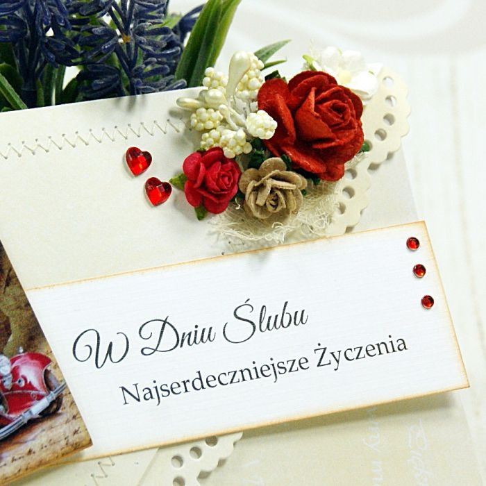 Kartka na ślub -różane retro (k3) - null