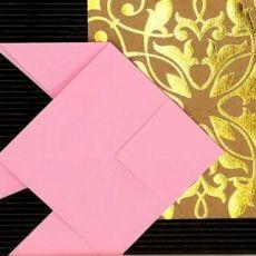 Obrazek origami wiszący drewniana ramka Ryby