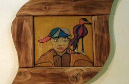 """mozaika drewniana """"Chłopak i ptak"""""""