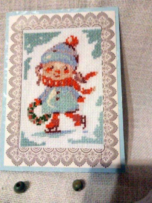 Kartka bożonarodzeniowa -Dziewczynka z wiankiem