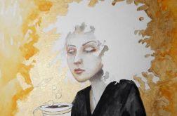 """""""Tworzenie światów przy kawie"""" akwarela"""