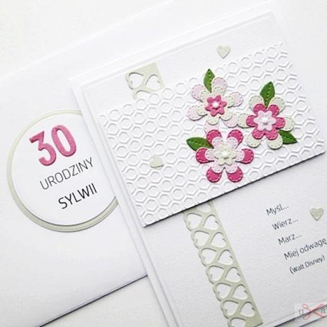 Kartka URODZINOWA różowo-popielate kwiaty