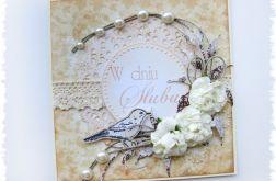 Kartka na ślub z ptaszkiem