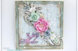 Delikatna kartka na Ślub z kwiatami 6
