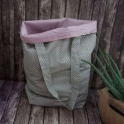 Eko torba damska na zakupy,beżowa w kropki.