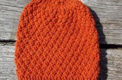Czapka 100% wełna pomarańczowo ruda