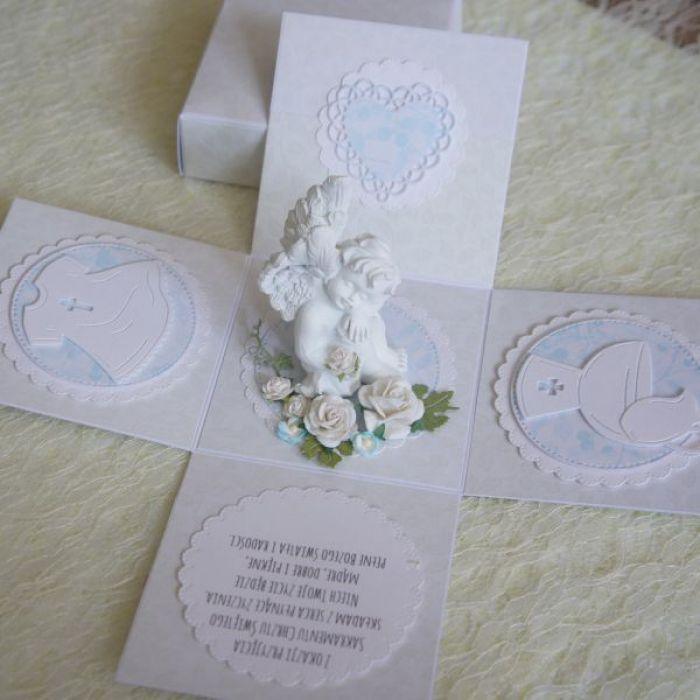 Biały exploding box na chrzest z aniołkiem.3